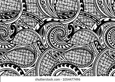 Tribal pattern in ethnic Maori style. Can be used as seamless ornament