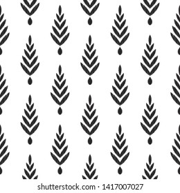 Tribal pattern. Herringbone seamless background. Ikat chevron wallpaper. Textured black and white graphic design. Can be used for textile, wrapping paper.