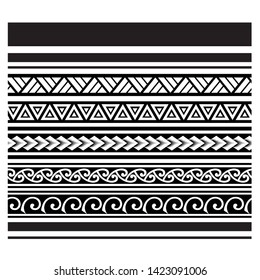 tribal pattern tattoo, aboriginal samoan band, maori seamless bracelets ornament, polynesian tattoo pattern, maori border, ethnic ornament tribal band