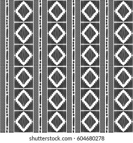 Tribal pattern vector seamless. Border african or native american print. Black white ethics texture. Repeating background for fabric, wallpaper, wrapping paper and boho card template.