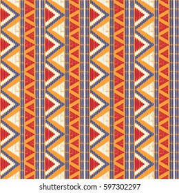 Tribal pattern vector seamless. Ethics African fabric print. Background for wallpaper, wrapping paper and boho card template.