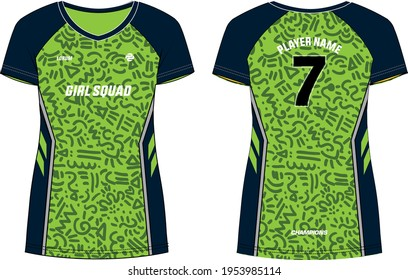 Tribal pattern Women Sports Jersey t-shirt design concept Illustration suitable for girls and Ladies for Volleyball jersey, Football, badminton, Soccer, netball and Sport uniform kit for sports