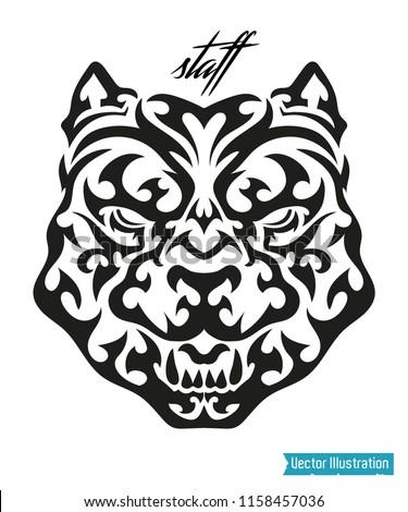 Tribal Pitbull Tattoo Drift Dog Vector Stock Vector Royalty Free