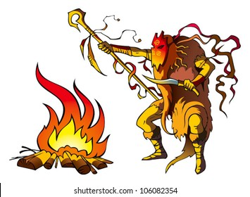 Tribal priest (shaman) conjuring above fire to predict the future, vector illustration