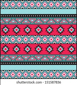Tribal Print in Teal and PInk