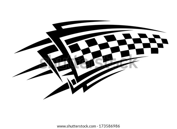 Tribal Racing Tattoo Checkered Flag Sports Stock Vector Royalty Free 173586986