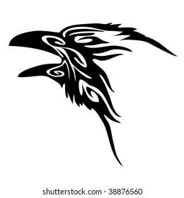 Tribal Raven head