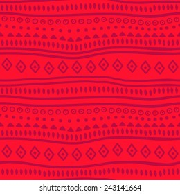 Tribal red vector pattern. Vector illustration. Abstract geometric pattern. Seamless pattern for fabric, paper and other printing and web projects.