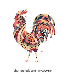 Tribal rooster to print on fabric. Rooster symbol 2017. An illustration of a rooster can be used to sketch tattoo tribal totem, amulet, print on a T-shirt.