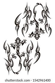 Tribal. Salamander tattoo. Lizard sticker design.