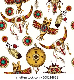 Tribal seamless background set with indian feather dreamcatchers and tribal animal totems vector illustration