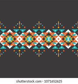 Tribal seamless colorful geometric border pattern. Ethnic vector texture.Traditional ornament.