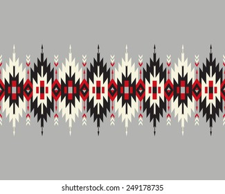 Tribal seamless colorful geometric border with indian arrows.