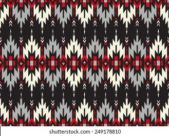 Tribal seamless colorful geometric pattern with indian arrows.