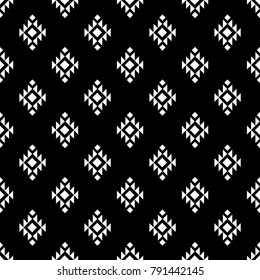 Tribal seamless ethnic background stylish primitive geometric patterns trendy print modern abstract wallpaper with grunge texture vector illustration. Monochrome ornament fabric textile