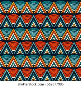 Tribal seamless ornament in vibrant colours. Abstract background. Hand drawn vector illustration EPS10