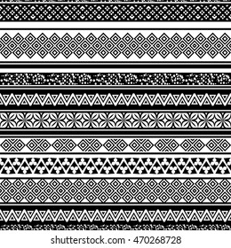 Tribal seamless pattern. Abstract background with ethnic ornament. Seamless background with different geometric shapes. Black and white. Vector illustration