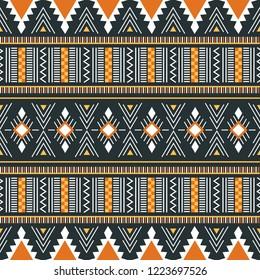 Tribal seamless pattern. African print. Ethnic geometric design. Cloth Kente.