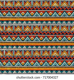 Tribal seamless pattern. African print. Colorful abstract background. Hand drawn vector illustration EPS 10.