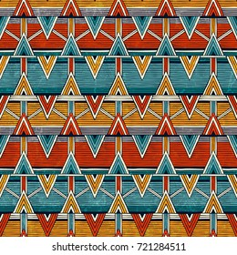 Tribal seamless pattern in african style. Colorful abstract background. Hand drawn vector illustration EPS 10.