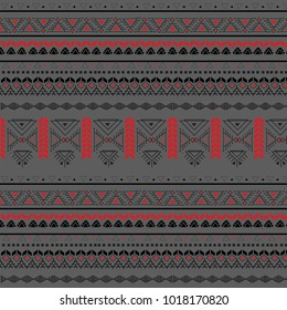 Tribal seamless pattern - Berber black signs on a grey background