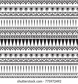 Tribal seamless pattern - Berber black signs on white background