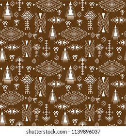 Tribal seamless pattern - Berber native signs on dark brown background