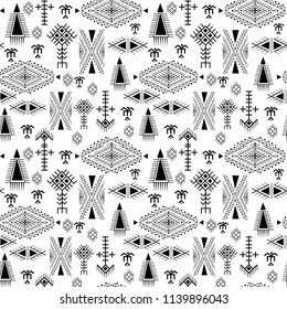 Tribal seamless pattern - Berber native signs on white background
