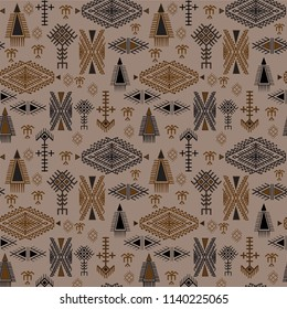 Tribal seamless pattern - Berber native signs on light brown background