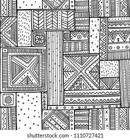 Tribal seamless pattern in boho style with ethnic African ornaments. Can be printed and used as wrapping paper, wallpaper, coloring page, textile, fabric, etc.