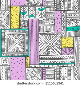 Tribal seamless pattern in boho style with ethnic African ornaments. Can be printed and used as wrapping paper, wallpaper, textile, fabric, etc.