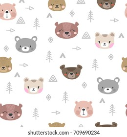 Tribal seamless pattern with cartoon bears. Abstract geometric art print. Hand drawn ethnic background with cute animals. Vector illustration