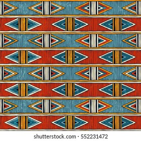 Tribal seamless pattern. Colorful abstract background. Hand drawn vector illustration EPS10