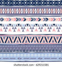 Tribal seamless pattern. Ethnic geometric print. Aztec colorful repeating background texture. Fabric, cloth design, wallpaper, wrapping