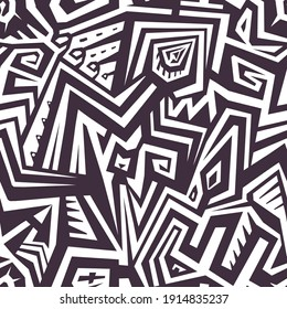 Tribal Seamless Pattern with Mixed Lines and Shapes for Textile Design. Black and White Striped Vector Pattern