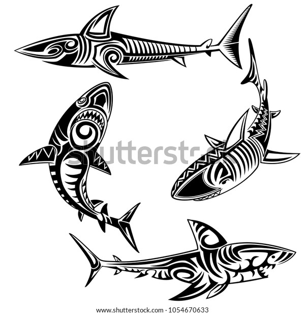 d9c9de681 Tribal Shark Tattoo Set Stock Vector (Royalty Free) 1054670633