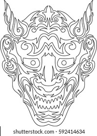 Tribal smiley japanese mask. Line art