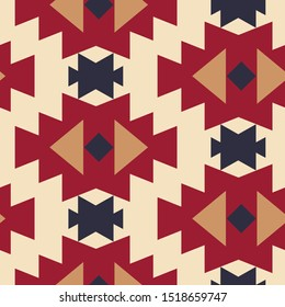 Tribal southwestern native american navajo seamless pattern. Ethnic fashion aztec ornament, abstract geometric handmade print for textile and surface design, package, wallpaper, wrapping paper