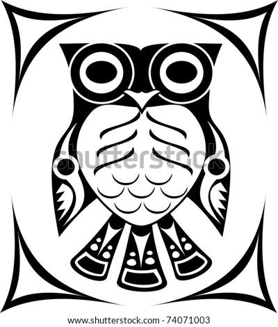 Tribal Spirit Owl Tattoo Design Stock Vector Royalty Free 74071003