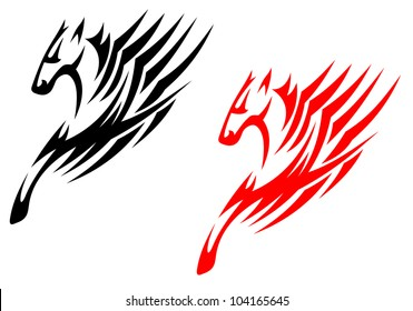 Tribal stallions isolated on white background for tattoo or t-shirt design, such logo. Jpeg version also available in gallery