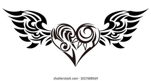 tribal tattoo heart images stock photos vectors shutterstock rh shutterstock com tribal heart vector designs tribal heart design pics