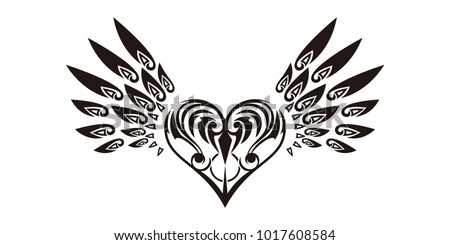Tribal Tribal Sticker Heart Wings Design Stock Vector Royalty Free