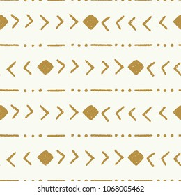 tribal stripe cream and gold vector seamless repeat pattern
