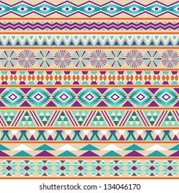 Tribal striped seamless pattern. Geometric multicolor background. Vintage soft colors. Swatches of seamless pattern included in the file.