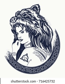 Tribal strong woman in a skin of a bear.  Symbol of Scandinavia, valhhala, Valkyrie. Girl of the North t-shirt design