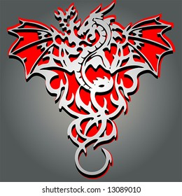 tribal style dragon cut-out with 3-D effect. For a similar dragon, see also #51706465