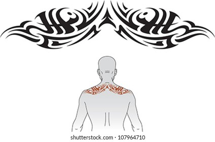 Tribal styled tattoo pattern fit for an upper back.