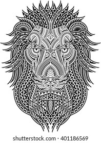 Tribal styled tattoo pattern in shape of a lion head. Fit for a shoulder or chest. Editable vector illustration.