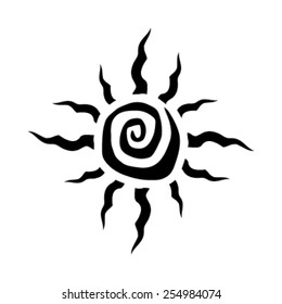 Tribal Sun Spiral Vector Icon