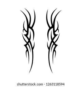 tribal symmetric pattern elements for tattoo men right and left hand and shoulders, art deco idea tattoos  design body, vector couple celtic tribal design elements ornament on arms, legs